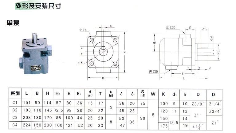 yb1型定量单联叶片泵广泛使用在各种中低压液压系图片
